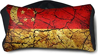 SUNNMOON Vintage Singapore Flag Neck Travel Pillow Support Scarf Voyage for Airplane Eye Mask, Travel Pillow and Eye Mask Washable Pillows