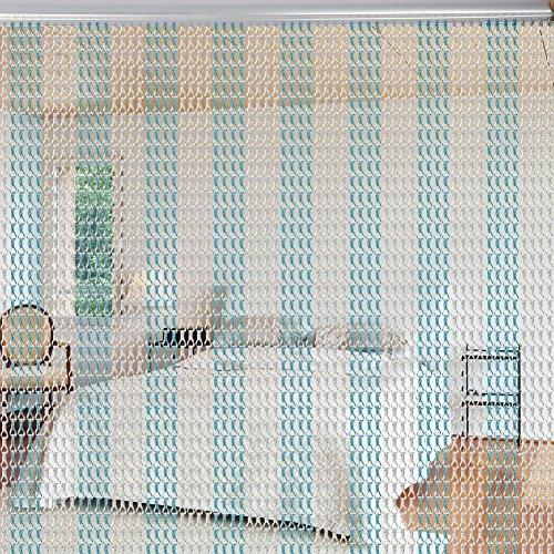 Aluminium Metallkette Vorhang Schädlingsbekämpfung Ketten Vorhang Türvorhang Sichtschutz/Insektenschutz 90 x 214,5cm (Silber + Blau)