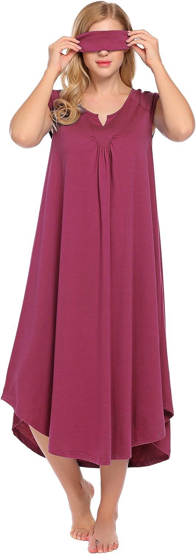 Ekouaer Nightgowns for Women Plus Size Long Loungewear Sleeveless V Neck Sleepwear Night Dress Summer Lounge Nightwear