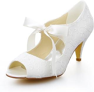 b70c6a8f33 Amazon.com: heels - Ivory / Shoes / Women: Clothing, Shoes & Jewelry