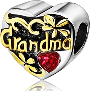 JMQJewelry Grandma Heart Love Birthstone Charms for Bracelets Mother Mom Son Daughter Gifts