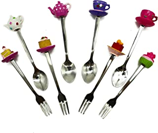 Tea Party Decorations | Stainless Steel Spoon and Fork Set | Cake and Teapot Designs | 4 Forks | 4 Spoons