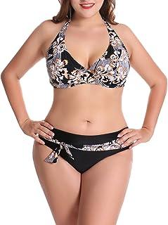 FEOYA - Conjunto de Bañador Bikini para Mujer Tallas Grandes con Aros Elástica Traje de Baño para Playa Vacación Atractivo...