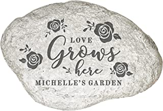 """GiftsForYouNow Engraved Love Grows Here Personalized Garden Stone, 5 ½"""" W x 4 ¼""""H x 1 ¼""""D, Resin"""