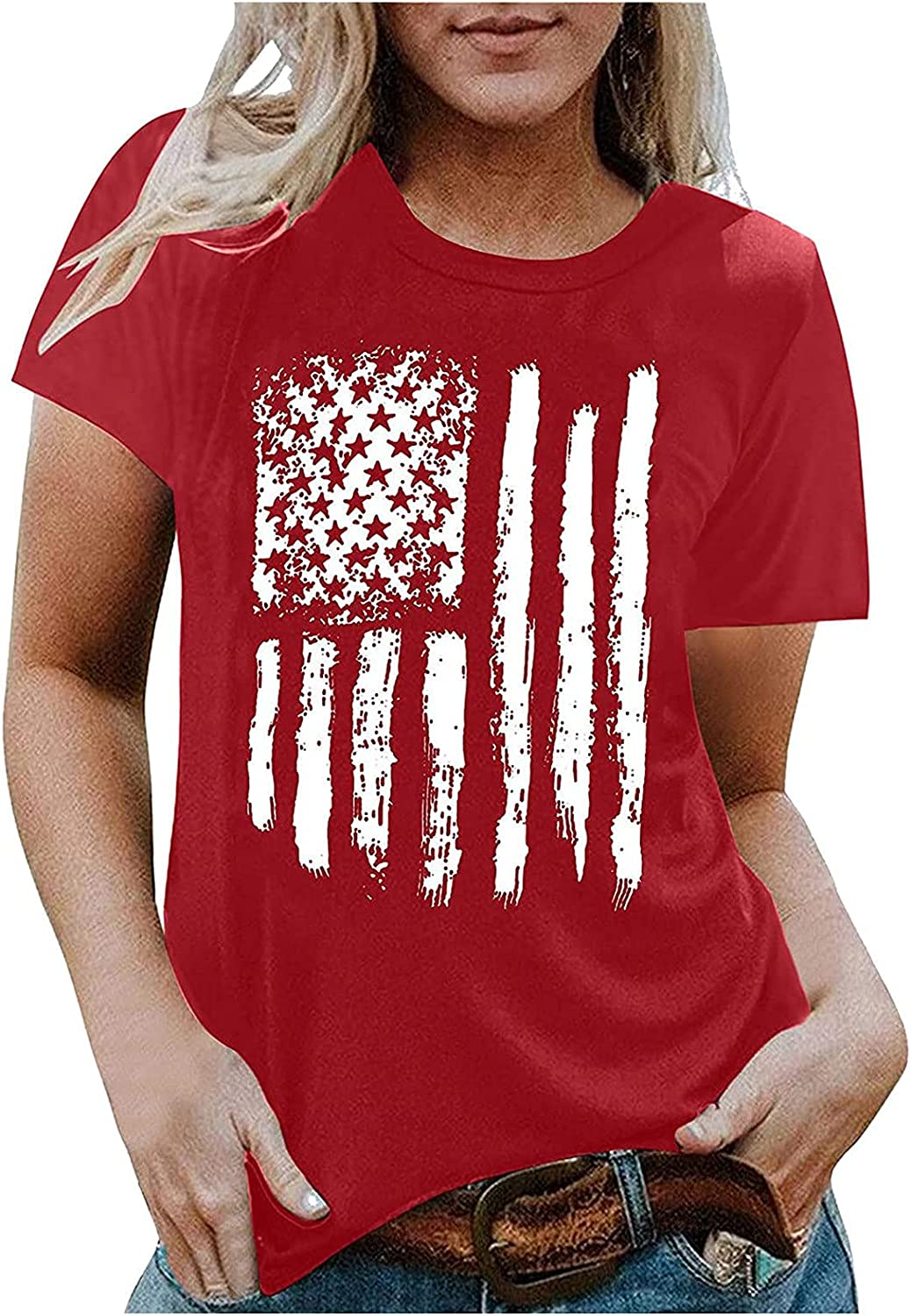 Graphics Special Campaign Tee Tops for Womens Printing El Paso Mall T-Shirt Cas Patriotic Flag