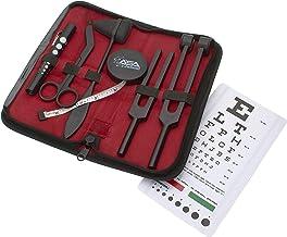 """مجموعه ای از 7 قطعه کیت کوبه ای تاکتیکی تشخیصی رفلکس - تیلور چکش ، نوار اندازه گیری بدن ، ست چنگال تنظیم ، قیچی باند 5.5 """"، قلم دستی مردمک ، نمودار چشم Snellen با کیف زیپ"""