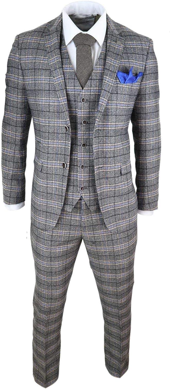 Mens 3 Piece Tweed Check Suit Herringbone Vintage Smart Cream