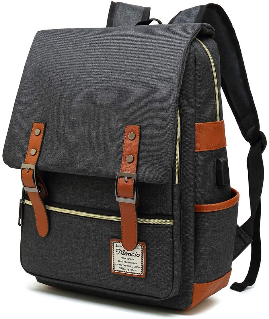 MANCIO Slim Laptop Backpack with USB Charging Port,Vintage Tear Resistant Business Bag for Travel,College, School, Casual Daypacks for Man,Women, Fits up to 15.6Inch Macbook in Black