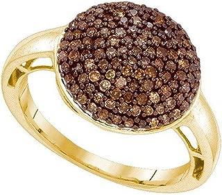 0.60 Carat (ctw) 10K Round Cognac Diamond Ladies Cluster Micro Pave Right Hand Fashion Ring, Yellow Gold