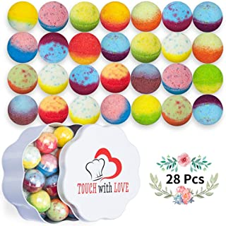 28 Bath Bombs with Gift Tin Box,100% Organic Natural Essential Oils and Moisturizing Ingredients, Handmade Multi-color Bulk Bath Bombs, DIY Your Colorful Bubble Bath.