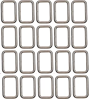 Shapenty 1Inch/25mm Rectangle Bag Purse Snap Hook Metal Loop Rings Webbing Belts Buckle for Handbag Strap DIY Accessories and Bag Making Repairing, 20PCS
