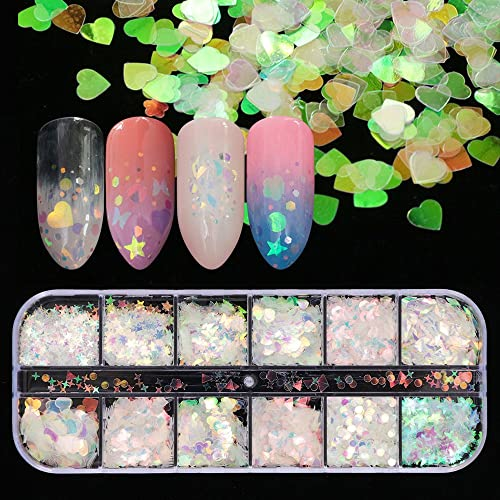 12 Shaped Holographic Nail Sequins Iridescent Mermaid Flakes Colorful Glitter Sticker Manicure Nail Art Design Make U...