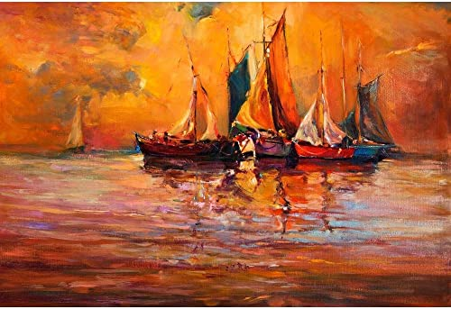 Pitaara Box Artwork of Boats & Sea D3 Unframed Canvas Painting 35.4 X 24Inch