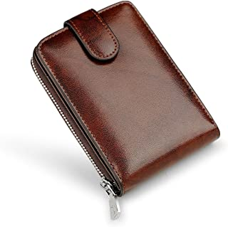 WILLIAMPOLO Genuine Leather Wallets Mens Small Driving Licence Zipper Credit Card Holder (Jujube red)