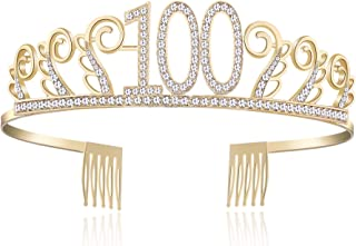 BABEYOND Crystal Birthday Tiara Rhinestone Princess Crown Happy Birthday Crowns Silver Diamante Happy 18/20/21/30/40/50/60/90th Birthday (Gold-100th)
