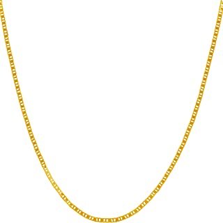 Lifetime Jewelry 1.5mm Flat Mariner Necklace for Women and Men 24k Gold Plated