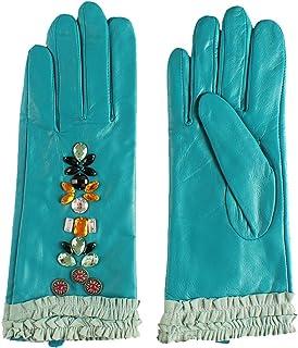 Nappaglo donne in vera pelle d'agnello guanti di pelle inverno caldo un cristallo breve guanti