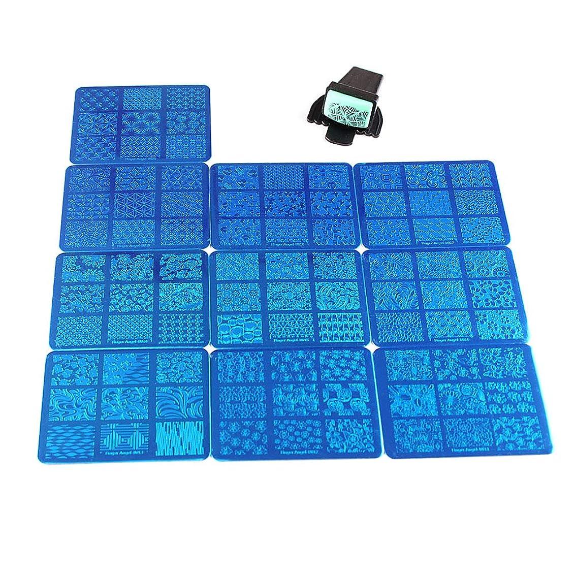 満足できるトロピカル牽引FingerAngel 10枚 ネイルイメージプレートセット ネイルプレート 長方形 花 フルカバー ネイルスタンププレート スタンプ スクレーパー(B11-20)
