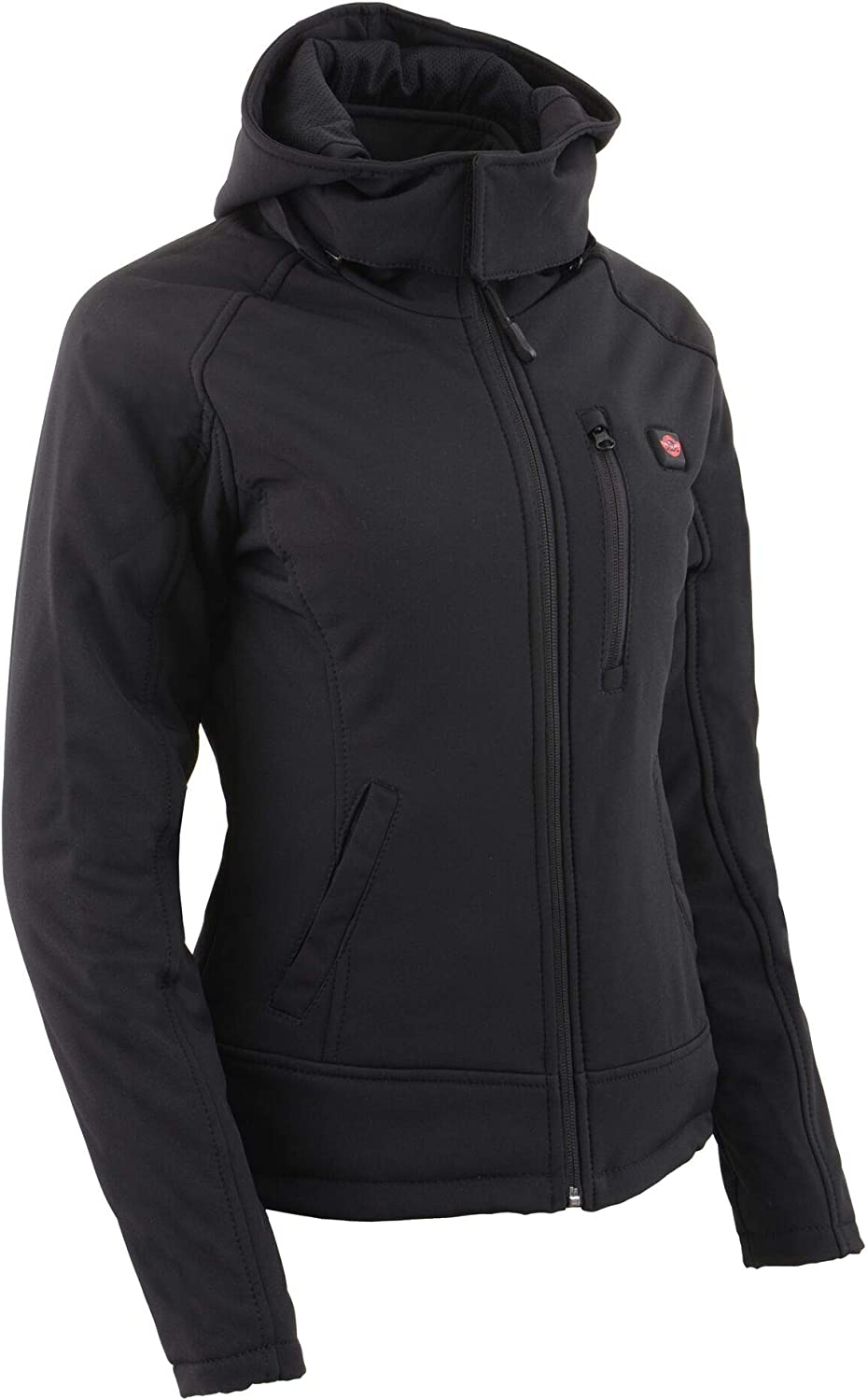 Battery Pack Included-BLACK-XS-2767 Milwaukee Leather-Womens Heated Textile Soft Shell hoodie Jacket
