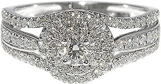 3/4cttw Diamond Bridal Wedding Ring 3 in 1 Style Split Shoulder Round Solitaire Halo(0.75cttw)