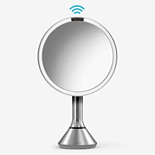 "simplehuman 8"" Round Sensor Makeup Mirror with Touch-Control Brightness, 5x Magnification Rechargeable and Cordless, Brushed Stainless Steel"