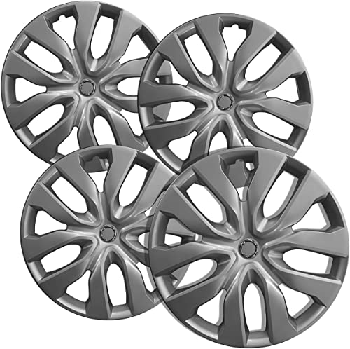 15 inch Hubcaps Best for 2014-2018 Nissan Rogue - (Set of 4) Wheel Covers 15in Hub Caps Silver Rim Cover - Car Accessories for 15 inch Wheels - Snap On Hubcap, Auto Tire Replacement Exterior Cap