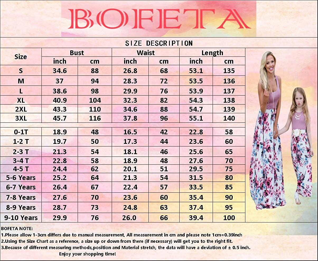 BOFETA Mommy and Me Dress Casual Floral Stripe Print Long Dress Family Matching Cute Dress