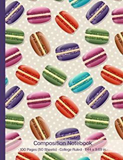 Composition Notebook: Macaron French Macaroon Colorful Confection Cover Design