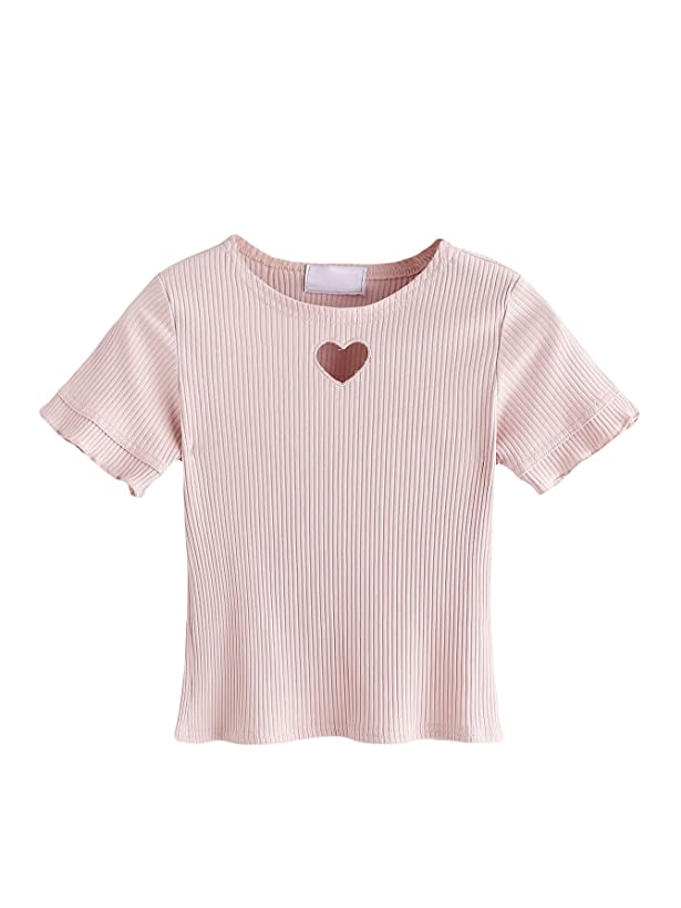 Romwe Women's Cute Slim Fit Heart Cut Out Ribbed Frill Short Sleeves Sexy Exposed Belly Crop Tee Top