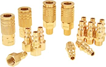 Air Fittings, Air Coupler and Plug Kit, Solid Brass Quick Connect Set, Industrial 1/4