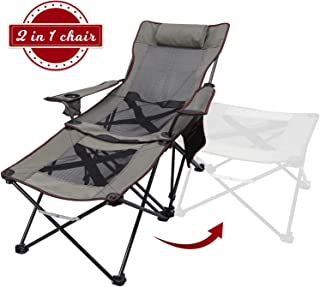 Xgear 2 in 1 Folding Camping Chair Recliner and Lounge Chair (Footstool Can Transform to Side Table) Very Stable, for Fishing, Beach, Picnics, Festival,Leisure(Khaki)