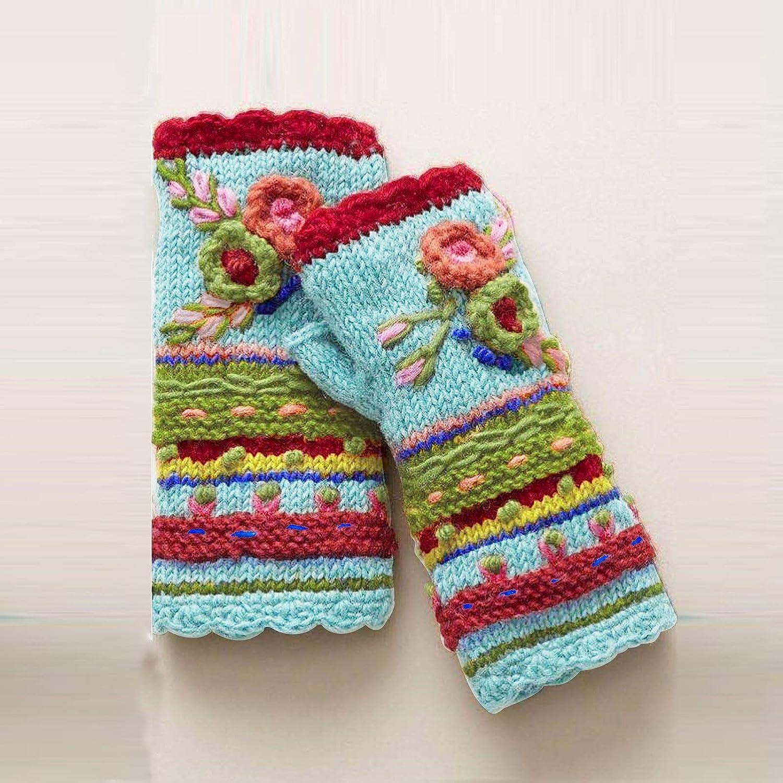 HGps8w Women Winter Warm Knit Fingerless Gloves Outdoor Knitting Wool WarmThumbhole Arm Warmers Mittens