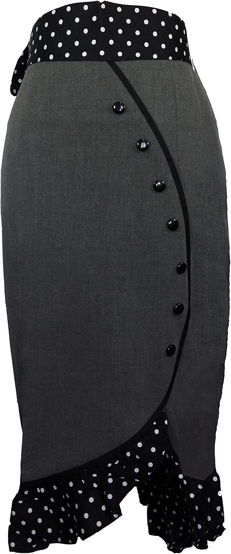 (XS-MD, XXL-28) Deadly Tulip - Gray 50s 60s Pencil Polka-Dot Pinup Retro High Waist Skirt