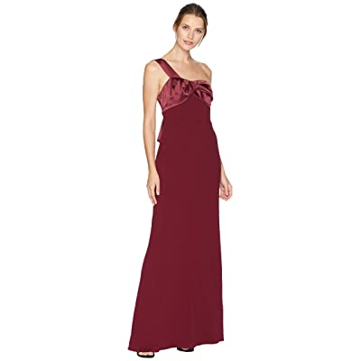 Adrianna Papell One Shoulder Long Crepe Gown with Satin Details (Garnet) Women