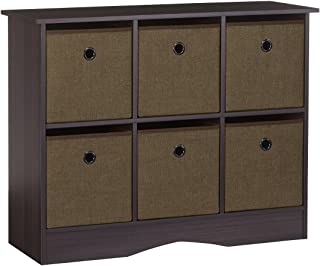 RiverRidge 6-Cubby Storage Cabinet in Espresso with Brown Bins