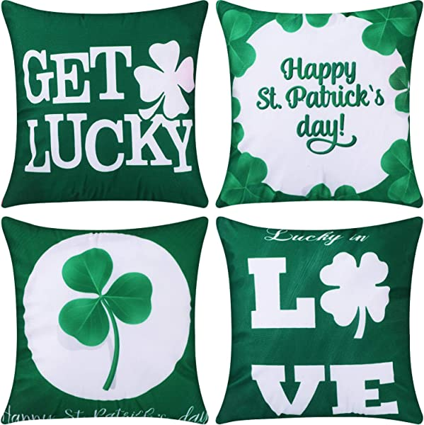 Jetec 4 Pieces Decorative Pillow Cover Pillow Case Sofa Back Throw Cushion Cover For Easter Day St Patrick S Day Thanksgiving Day Home Decoration 18 By 18 Inches Color Set 3