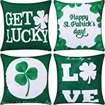Jetec 4 Pieces Decorative Pillow Cover Pillow Case Sofa Back Throw Cushion Cover for Easter Day, St. Patrick's Day, Thanksgiving Day Home Decoration, 18 by 18 Inches(Color Set 3)