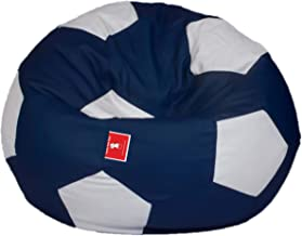 ComfyBean Soccer/Football Bean Bag, Filled with Bean Filler (Indigo and White, 3XL)