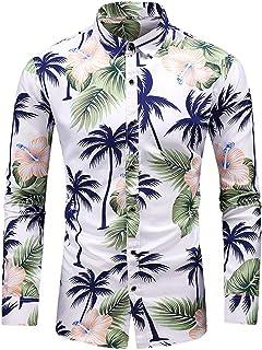 Men's Boho Print Long Sleeve Dress Shirts Floral Button Down Hawaiian Shirts Slim Fit Beach Casual Shirt Blouse
