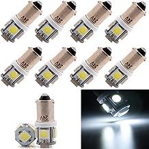 Grandview 10pcs BA9S LED Ampoules Blanc BA9 53 57 1895 64111 T4W Ampoules avec Puces 3-2835-SMD Pour Feux de Position Feux de Porte Lumi/ères de Courtoisie Garantie 2 Ans