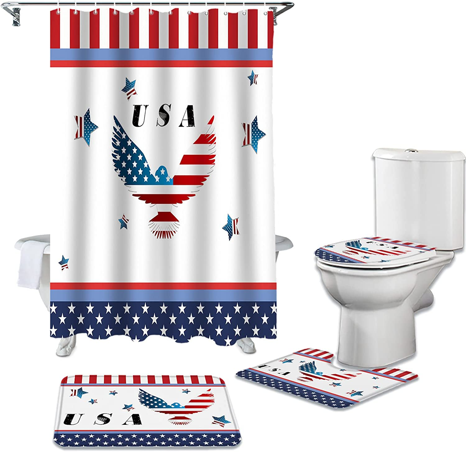 4 Piece Don't miss the campaign Shower Curtain Set Inexpensive for Rugs Bathroom Non-Slip with Toil