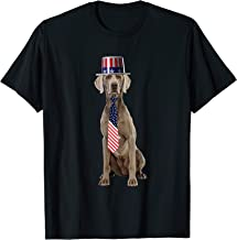 Weimaraner 4th Of July Dog In Top Hat and Tie T-Shirt