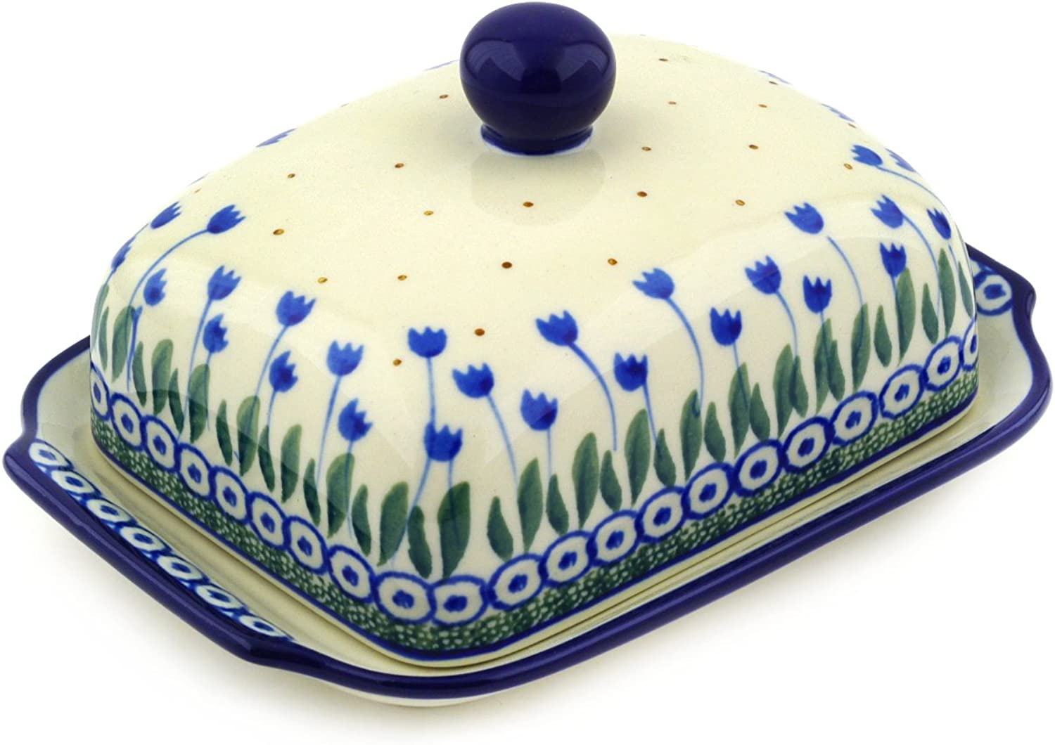 Polish Pottery 6?-inch Butter Dish made by Ceramika Artystyczna (Water Tulip Theme) + Certificate of Authenticity