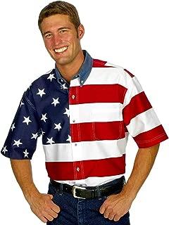 Roper Men's Stars & Stripes Pieced Flag Shirt S/S