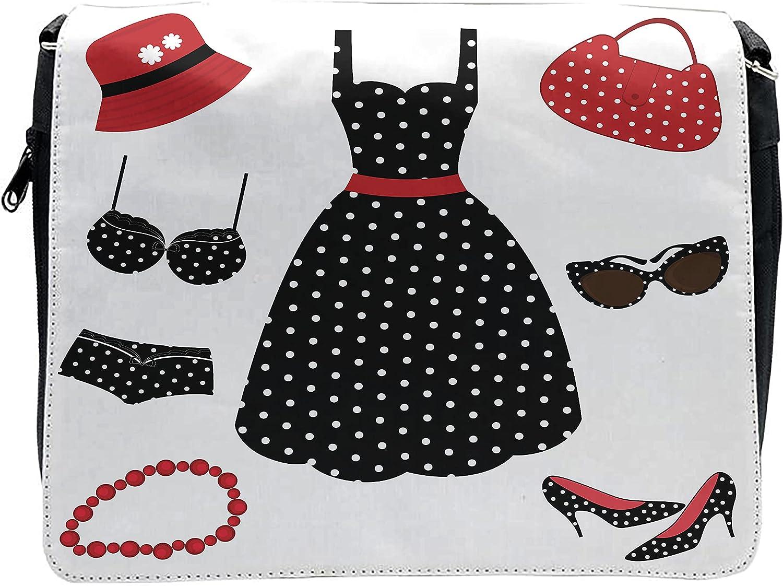 Lunarable 1950s Cross Body Messenger Bag, Fifties Style Female Fashion, Unisex