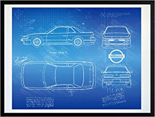 DolanPaperCo #377 Nissan Silvia K (1989-94) Art Print, da Vinci Sketch - Unframed - Multiple Size/Color Options (11x14, Blueprint)