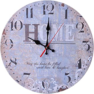 Kay Cowper Vintage Style Non-Ticking Silent Antique Wood Wall Clock for Home Kitchen Office