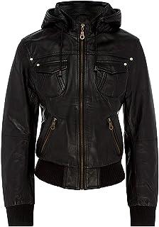 Women's Genuine Leather Bomber Biker Jacket with Hood