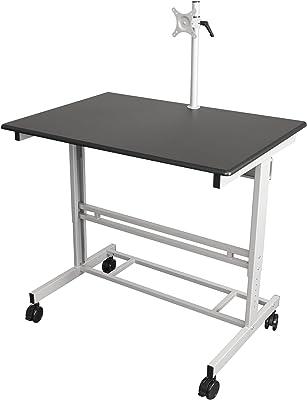 Stand Up Desk Store 100cm Länge Höhenverstellbarer Schreibtisch (Rahmen silber/Holz schwarz)