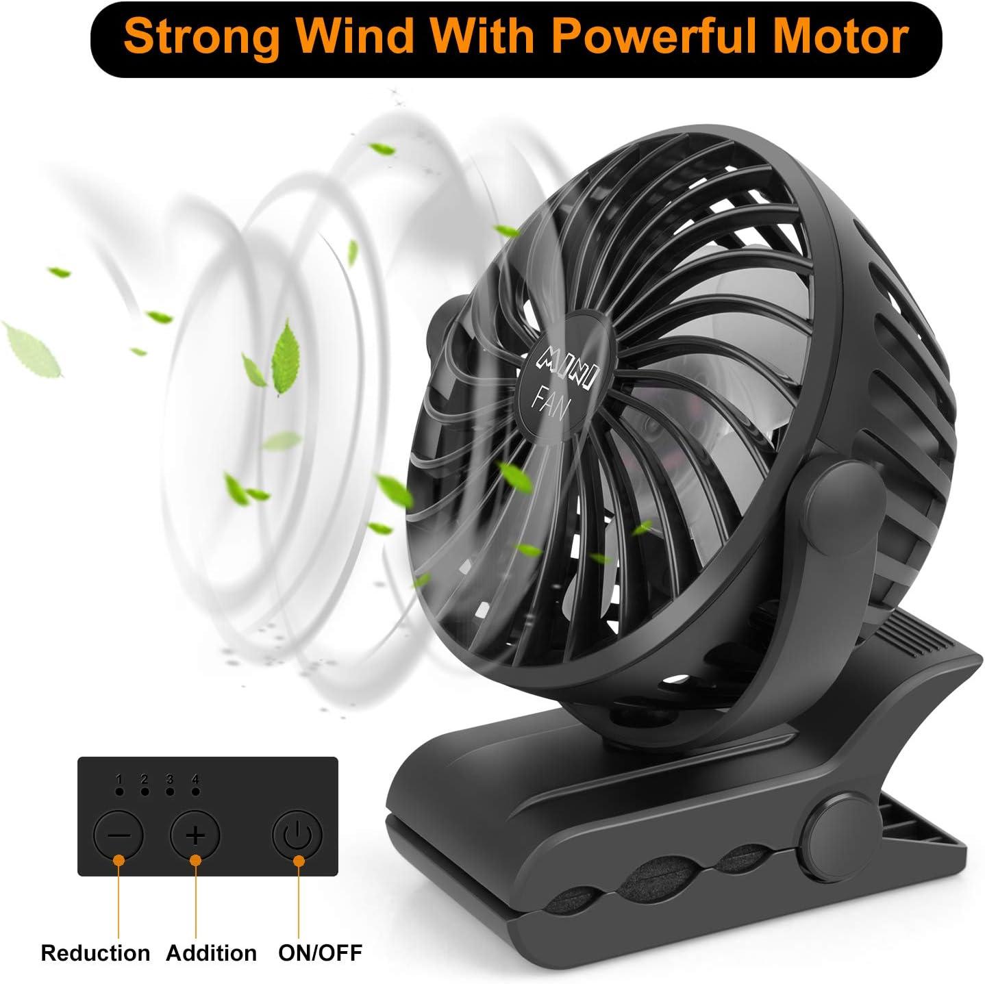 ESEOE Clip on Fan - USB Or 2600mAh Rechargeable Battery Operated Fan Small Desk Fan with 4 Speeds - 360 Degree Rotation Portable Stroller Fan for Baby